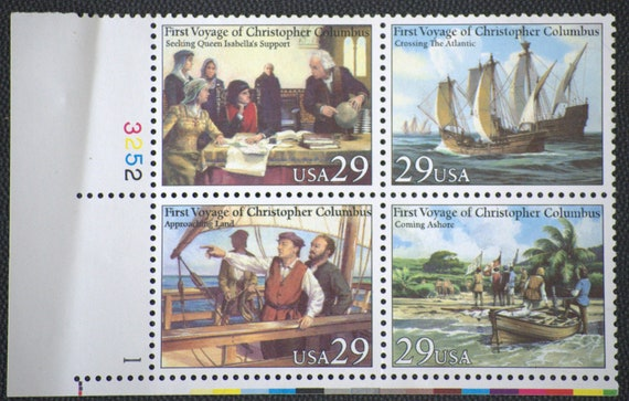 Vintage Christopher Columbus Block of 4 Mint Stamps 1992