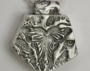 Fine Silver Hollow Form Butterfly Textured Pendant