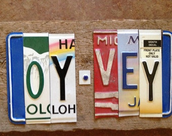 OY VEY  Yiddish Lord help me You drive me crazy upcycled recycled license plate art sign tomboyART tomboy
