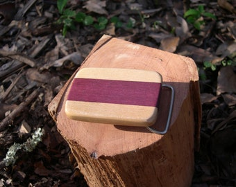 Wood Belt Buckle purple heart and maple  ( free shipping )