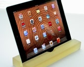 Groove Golden Champagne Colored Resin iPad/Tablet Stand, Kitchen Tablet Stand, Mobile Device Stand-Modern Minimalism Design