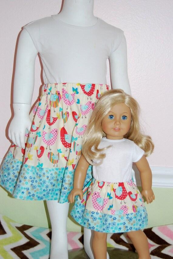American Girl/18 inch/15 inch Match My Dollie Contrast Skirt