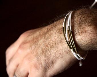 for him - adjustable bracelet metal and white waxed cotton - men and unisex bracelet