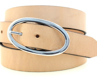 "Made In USA 1 1/4"" Ladies' Hip Or Waist Belt Tan Harness Leather Large Round Nickel Buckle Dress Or Casual"