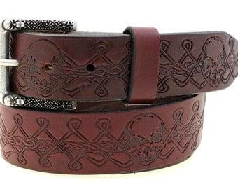 "Men's 1 1/2"" Burgundy Latigo Leather Belt Original Skull And Celtic Knot Work Design And Matching Buckle Made In America"