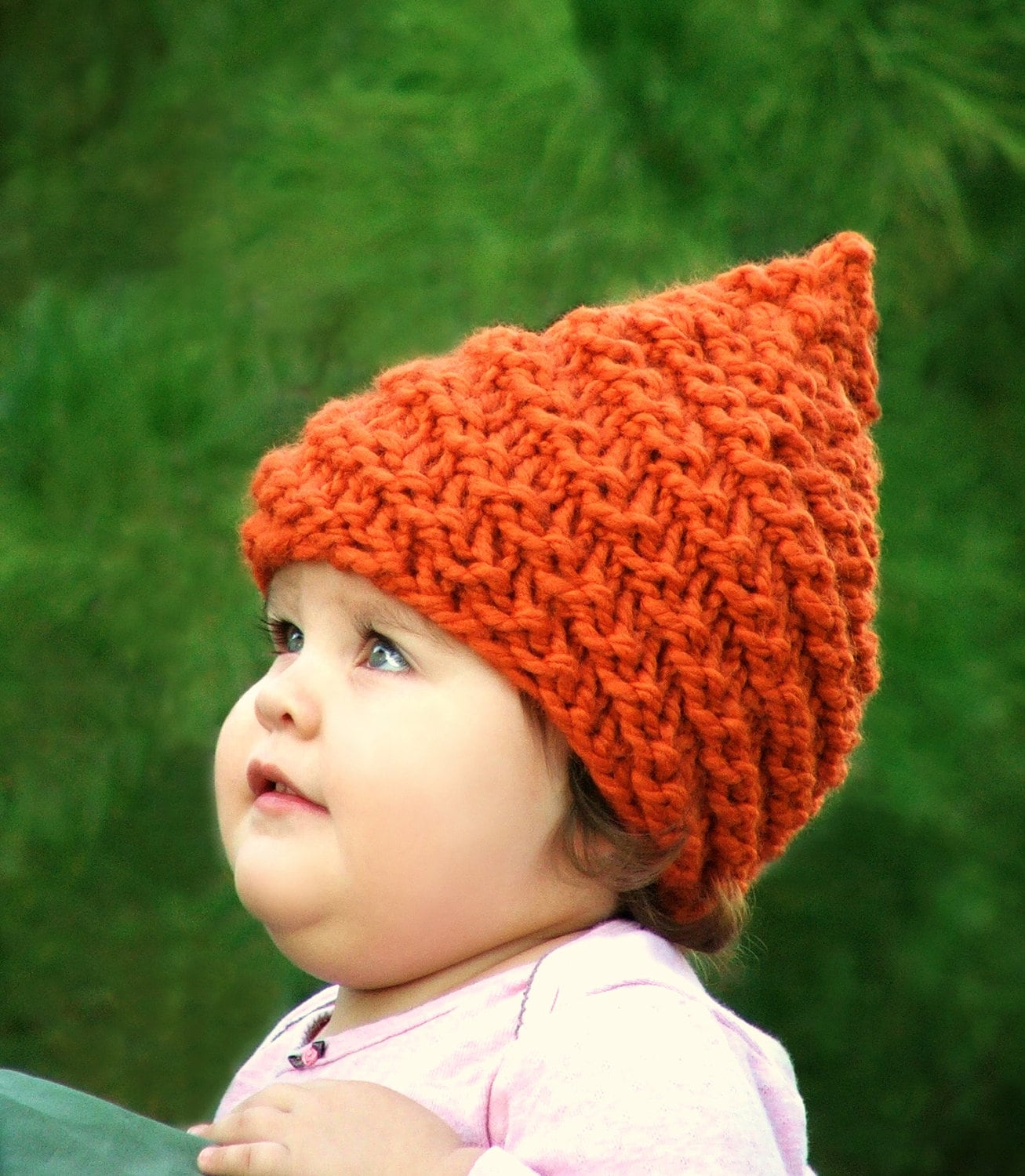 Knitting Patterns For Baby Elf Hats : Items similar to Infant Elf Hat Baby Gnome Hat Newborn Beanie Hand Knit Baby ...