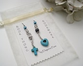 Easter Gift Bookmark - Cross and Heart Book Thong in Turquoise Blue and Black
