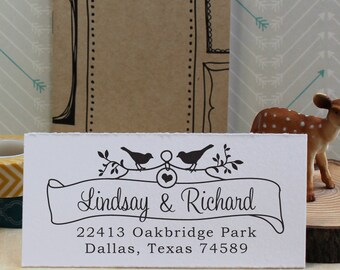 Custom Rubber Address Stamp - Personalized Wedding Stamp - Eco Mount - Bird & Banner