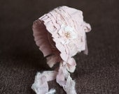 SAVANNAH. Pink. Hand Dyed Fabric Bonnet. Ivory. Shabby Chic. Newborn. Baby Girl. Photo Prop. Vintage Style. Tolola Design.