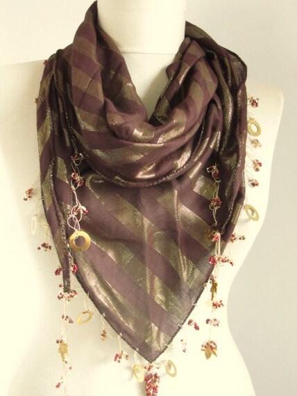 tringle scarf brown scarf turkish scarf cotton