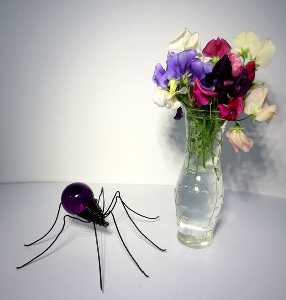 Perfect  Purple Spider Wire and Vintage Globe Repurposed Art Made To Oder