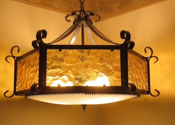 Vintage1970's Gold Bubble Glass Hanging Light Fixture Moody Count of Monte Cristo Lamp