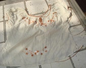 Vintage Beige Paisant Blouse with Flowers Size Small Sale Free Shipping