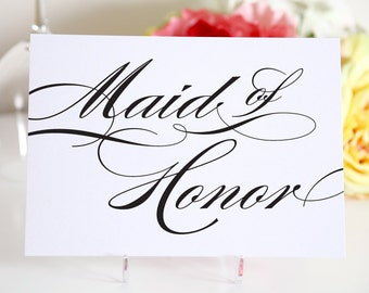 Maid of Honor Sign - Wedding Maid of Honor Sign - Black -5x7 Sign