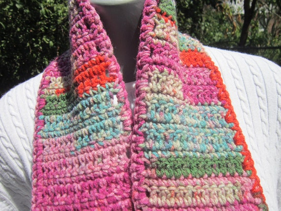 LAST CHANCE SALE Pink, Multicolored Crochet Scarf, Cotton Candy Crocheted Scarf Striped, Winter Wear, Gift for Teacher, Scarf for Teenager