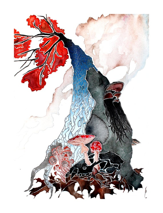 Looking Up and Down - tree and skull watercolor print reproduction