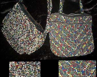 1940s 40s beaded  hand bag  50s 1950s beads purse lot 2
