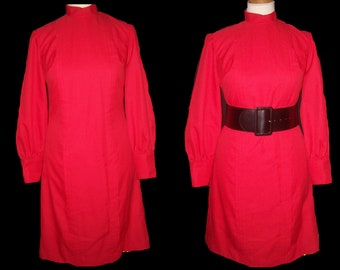 1960s 60s Mod Mad Men red Pleat Lilli Diamond Dress Holiday cocktail Party Medium Large