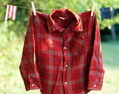 Daddy's Big Helper Vintage 1980's Little Boys Red Plaid Button Down Shirt