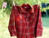 Daddy's Big Helper Vintage 1980's Little Boys Red Plaid Button Down Shirt