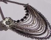 Grandma's Attic- Vintage Enamel Flower Brooch and Chain Necklace