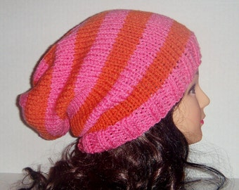 Pink and Orange Knitted Slouchy Womans Hat, Beanie Hat