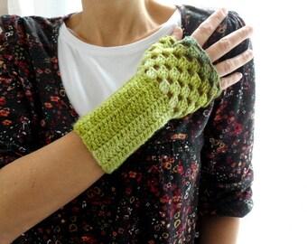 Blended Green Fingerless Gloves, Crochet Mittens