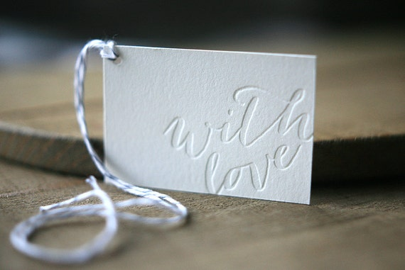 Letterpress Gift Tags Calligraphy Christmas Gift by FoglioPress