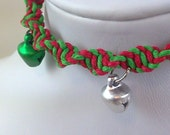 Red and Green Hemp Christmas Bracelet with Green and Silver Jingle Bells