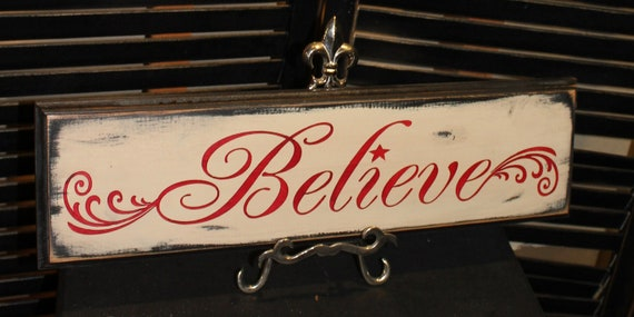BELIEVE Sign /Christmas Sign/wood sign hand painted/Vintage