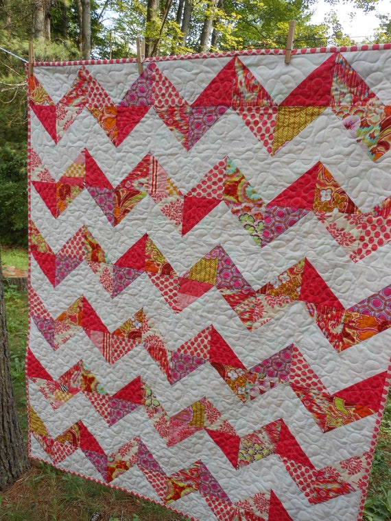 Pink and White Chevron Baby Quilt -- scrappy zig zag