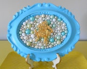 Goldfish mosaic picture.Mosaic wall art.Sparkle glitter picture.Bathroom picture.Gold and blue.Bubbles.Pearls.Turquoise frame.Fish.