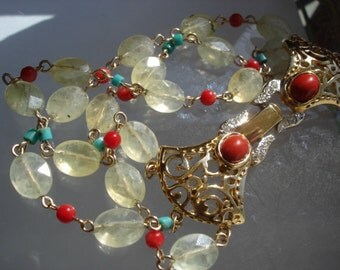 Phrenite Gold Bracelet Turquoise and Coral Elegant Gemstone Bracelet Statement Bracelet Genuine Gemstones
