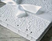 White Wedding Guest Book, Bridal Shower Guest Book, Baby Shower Guest Book, White Blossom {MADE upon ORDER}