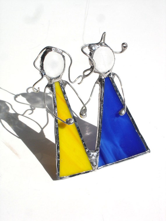 Best friends sisters mom and me suncatcher yellow blue gift under 25