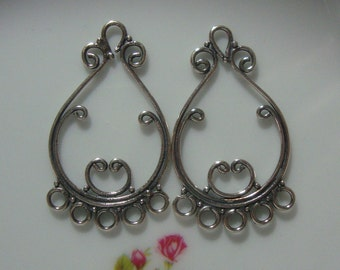 Bali Artisan Oxidized Sterling Silver Lovely Chandelier, Handmade Sterling Silver Jewelry Art- CC-0006