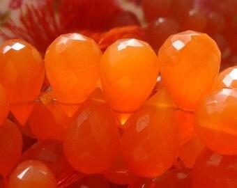 Mandarin Orange Faceted Teardrop Briolette, 4 pcs, 14-16x9-10mm