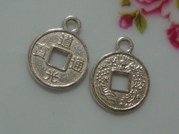 6 pcs - Sterling Silver Chinese Ancient Coin Charm - Bright Silver