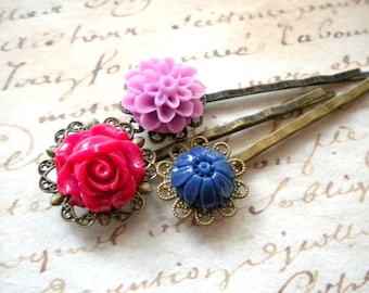 Gift For Girl Purple Bobby Pin Flower Hair Accessories Flower Cabochon Hair Pin Floral Bobby Pin Hair Pin Flower Set Fuschia Bobby Pins