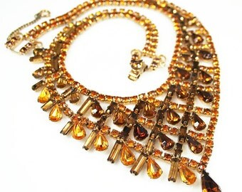 Vintage Amber Rhinestone Choker Necklace - Wide Chunky, Topaz, Root Beer, Juliana Style, Asymmetrical, Vintage Necklace, Statement Jewelry