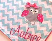 Personalized Baby Blanket- Chevron Baby Blanket- Minky Baby Blanket- Aqua Chevron Minky Blanket- Owl Applique Baby Blanket- Custom Blanket-