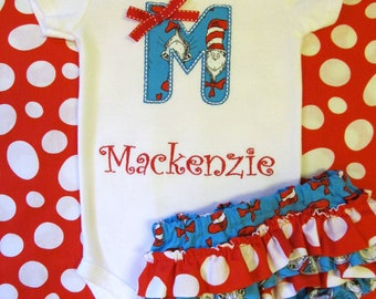 Cat in the Hat Bodysuit and Ruffled Diaper Cover Set- Dr. Seuss Appliqued Set- Cat in the Hat Personalized Set