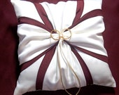 Ivory or White Wedding Ring Bearer Pillow Wine Burgundy Accent