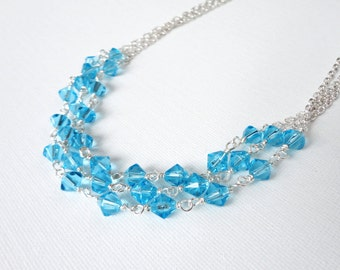 Turquoise layered necklace chain bib necklace sparkly glass beads elegant ooak