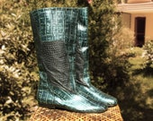 metal blue boots leather size 6.5 80s new vintage