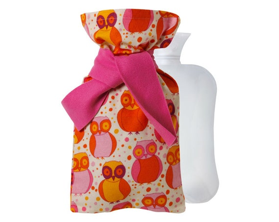 "Hot Water Bottle & Flannel Cover with ""Pink Owls"" print"