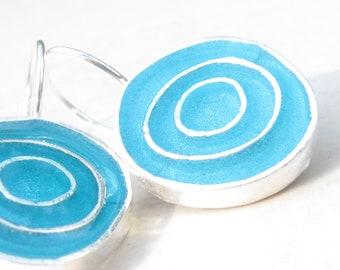 Bright Turquoise Silver Earrings Resin Earrings
