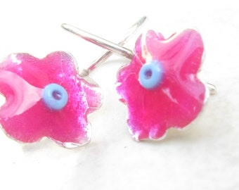 Girls earrings Fuchsia Little Flower Sterling Silver with Turquoise Bead
