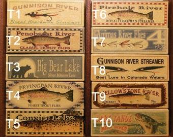 Pennsylvania, Massachusetts Vermont Lake House Cabin fishing lure boxes