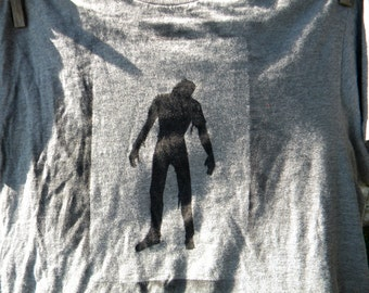 The Walking Dead Zombies  Painted  Upcycled Long T Shirt